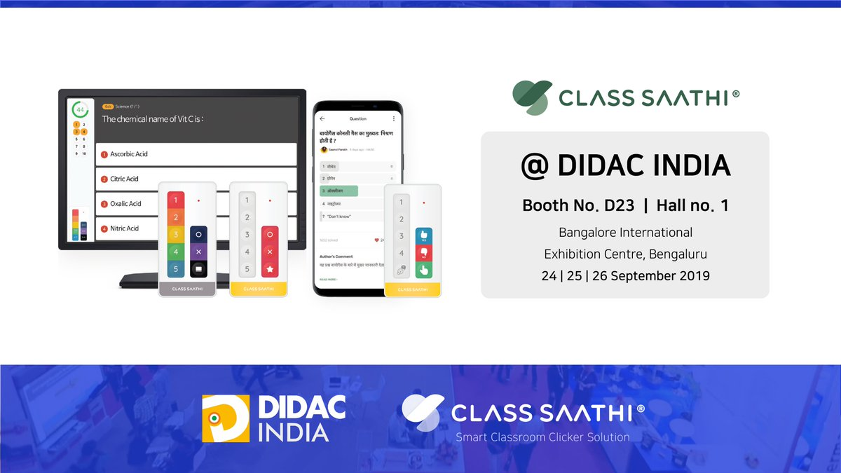 Visit us at the Didac India exhibition Bengaluru this month & see how Class Saathi helps improve student engagement! https://t.co/Tb5AH2ZyOT