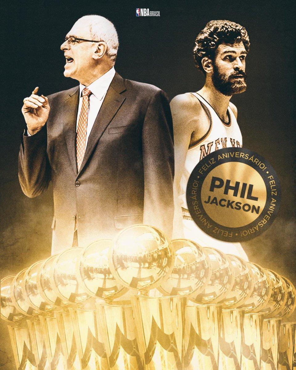 Nesta terça-feira (17/09), Phil Jackson completa 74 anos! O cara tem 13 TÍTULOS totalizados na sua carreira como técnico e jogador da NBA. Tem que admirar esse gigante! 👏🎂 #NBABDay