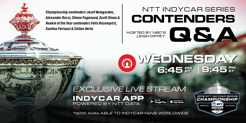 🗣️ @leighdiffey ✅ @josefnewgarden ✅ @AlexanderRossi ✅ @simonpagenaud ✅ @scottdixon9 ✅ @FRosenqvist ✅ @SantinoFerrucci ✅ @ColtonHerta Join us for a live Q&A exclusively on the INDYCAR app 📲 Google Play: bit.ly/2ERmuyZ Apple: apple.co/2ERCf94