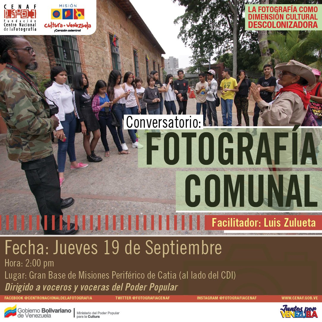 #EpaEsContigo 📢| Asiste a la Práctica del Taller de Fotografía📸 Periodística,este #Jueves #19Sep en la gran base de misiones periférico mde Catia #Caracas Dirigido por: Luis Zulueta a partir de las 2:00pm. ¡No faltes! @VillegasPoljak #17Sep #DiálogoPorLaPaz