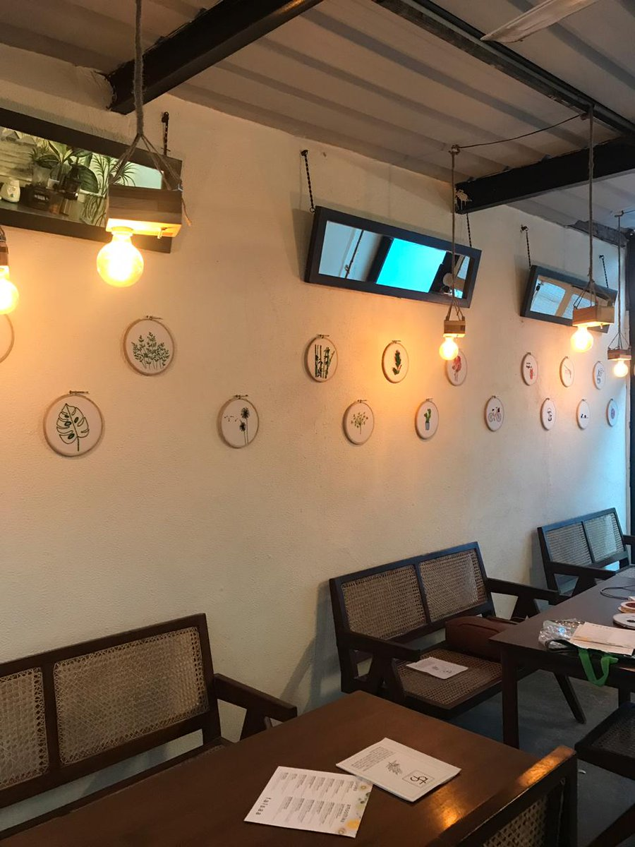 I am so proud to announce that now my work adore the walls of this cozy little cafe in Champa Gali.  #champagali #interiordesign #embroidery #cafe #cafeart #TuesdayMotivation #TuesdayMorning #home