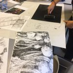 Image for the Tweet beginning: Y12 are exploring mono-printing and