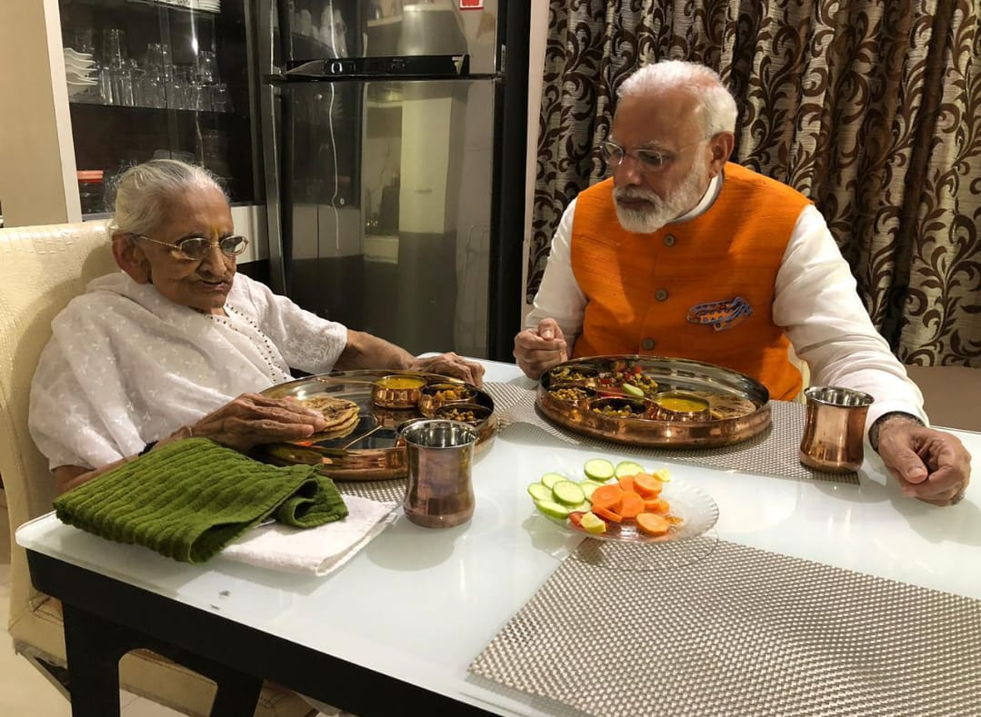 PM Modi meets Nonagenarian mother Hiraba on his birthday, took blessings, had lunch with her