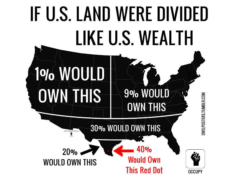 If U.S land were divided like U.S wealth #Map #Maps #USA #TerribleMap #Terriblemaps #unitedstates #Wealth #Geography #Land
