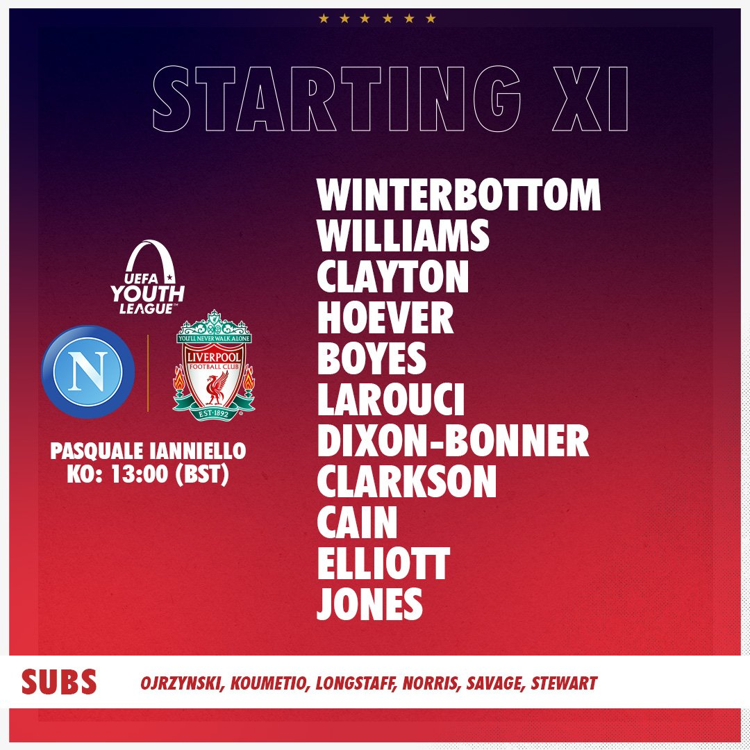 RT @LFC: ⭐️@UEFAYouthLeague Team News⭐️  Our side to face @sscnapoli in the #UYL 👊🔴 https://t.co/CfY8GCCyav