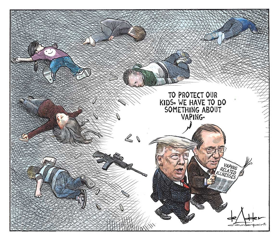 This is America. Vaping ban isn't about children's health, it's about the tobacco lobby. If the GOP cared about kids then action would have been taken after Columbine, which was 20 years ago. #GunControlNow <br>http://pic.twitter.com/rTkaplSrr7