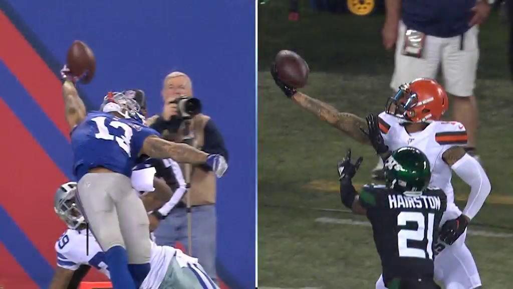 Same hand. Same end zone. Two epic catches. Which was more impressive?! @obj #NFL100 https://t.co/vBrjdd5UkL
