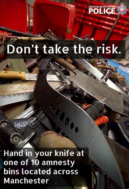 Dont risk it.The consequences of knife-crime are far-reaching that it can affect you, your family & wider community. Hand in your knife at one of 10 amnesty bins located across Manchester this week. knife amnesty bin location map - crowd.in/MamZpU #OpSceptre
