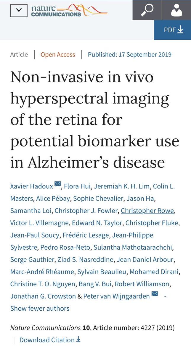 Delighted that our paper on a new #retinal biomarker of #AlzheimersDisease has been published in @NatureComms . @EyeResearchAus @unimelb @UniMelbMDHS @MACHAustralia @TheFlorey @healthybrain_au @xavierhadoux  Please read and share here:  https://protect-au.mimecast.com/s/4NwJC71ZQzSJ5JM3i8kOMk?domain=em.rdcu.be …