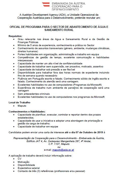 Adc In Mozambique On Twitter Great Job Opportunity