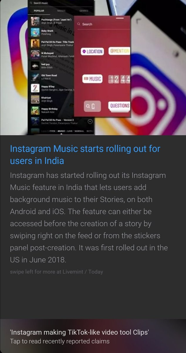 We finally have IG:Music rolling out in our area! IG music allows you to put background music on your iG stories. It's a feature long overdue, since one can only listen to other's music if our country has IG:M enabled. #instagrammusic #Instagram #India #newfeature #Finally<br>http://pic.twitter.com/XKKOQ0DUyW
