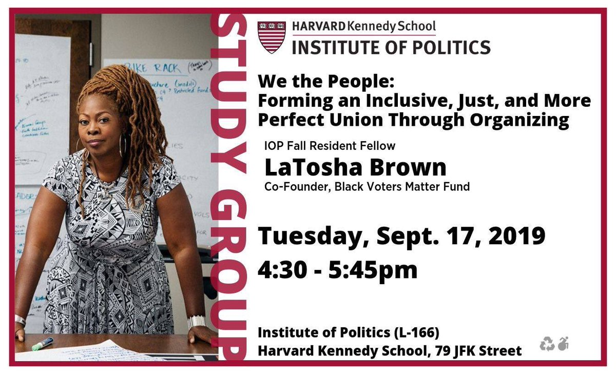 If you are in Boston/Cambridge area please join me tonight at the Kennedy School at Harvard for the kickoff of my @harvardiop Study Group series on We the People: Organizing a More Just, Inclusive and Equitable Union. It's open to the community. Come out and let's talk politics!