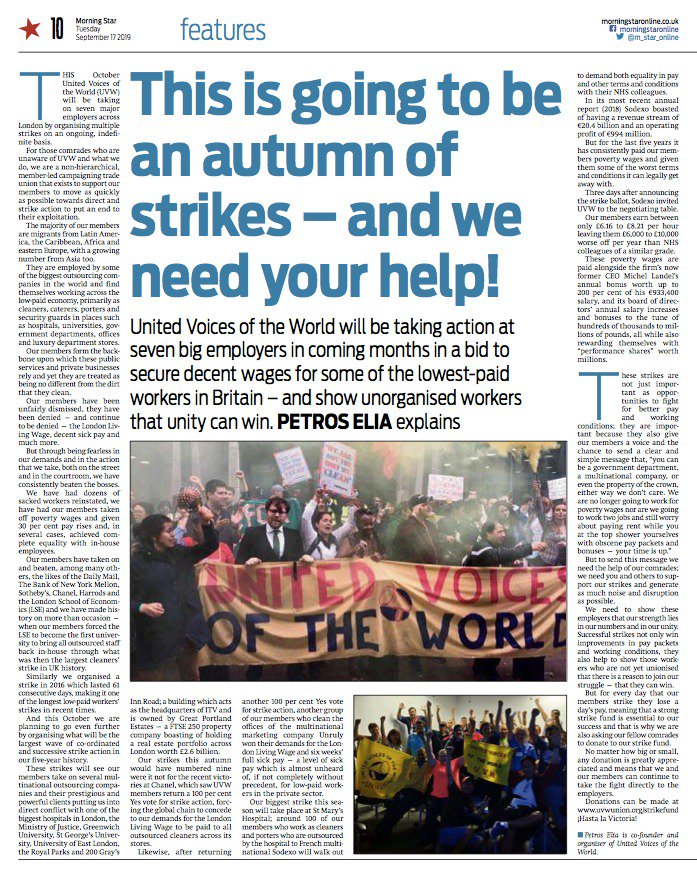 Its not on the website yet but check out todays printed addition of the Peoples Daily (@M_Star_Online) which includes an article about UVWs Autumn of strikes which will see hundreds of migrant workers strike at 3 universities, 7 Royal Parks, 1 hospital, 1 govt dept & more