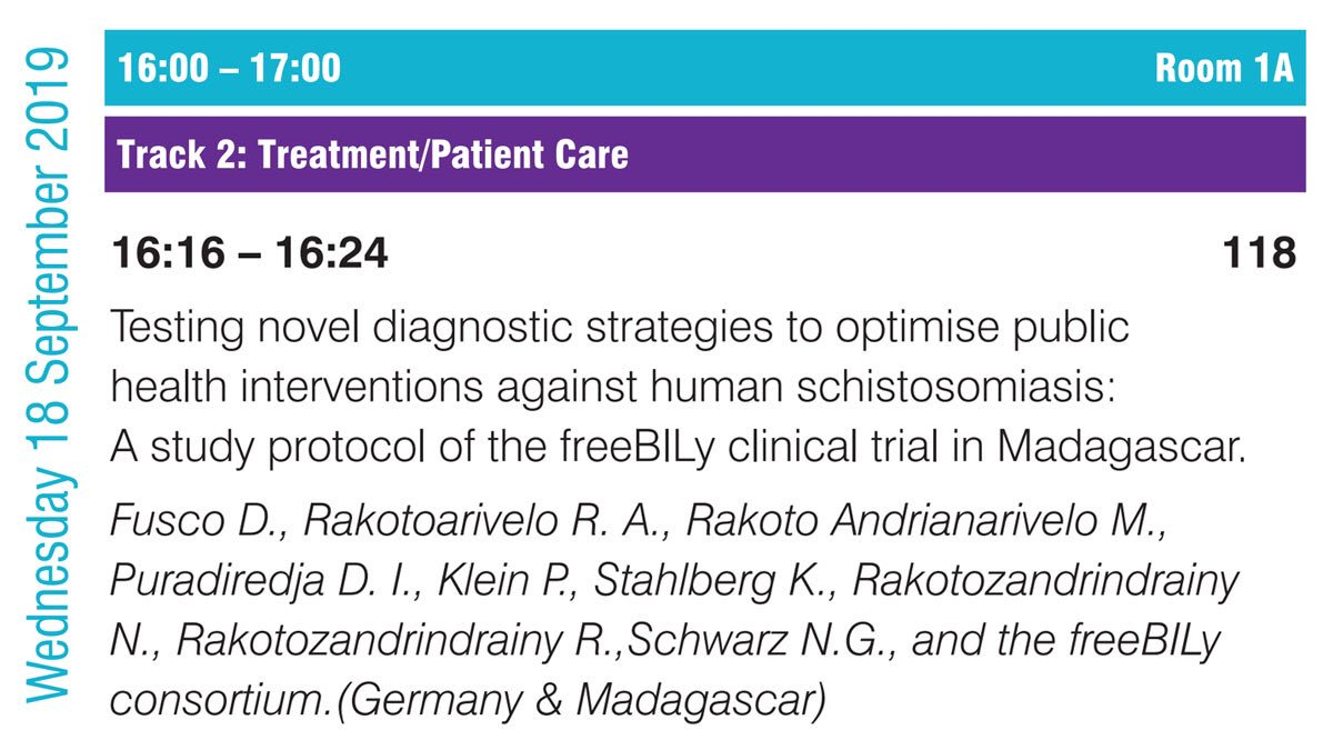 Tomorrow our #freeBILy collaborators from Hamburg and Madagascar will share the study protocol of the Madagascar trial at @ECTMIH2019