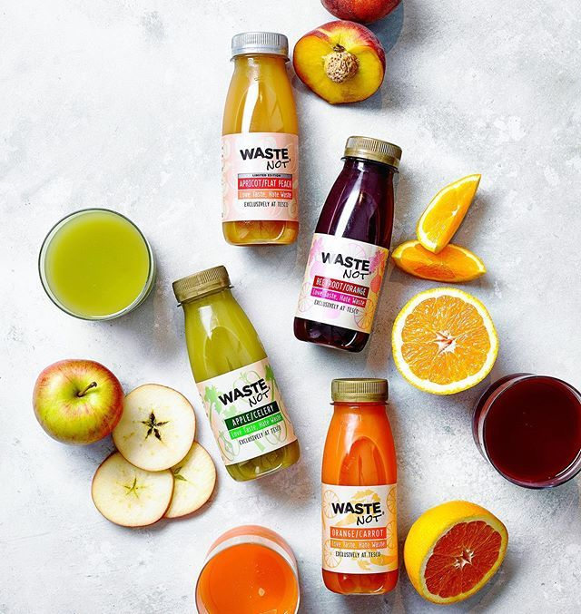 Waste Not juices shot for this month's @tescofood mag. Made using wonky fruit and veg. AD @jadebright92 Food @thejoyfulskipper Props @ferdts https://ift.tt/34Rs67a