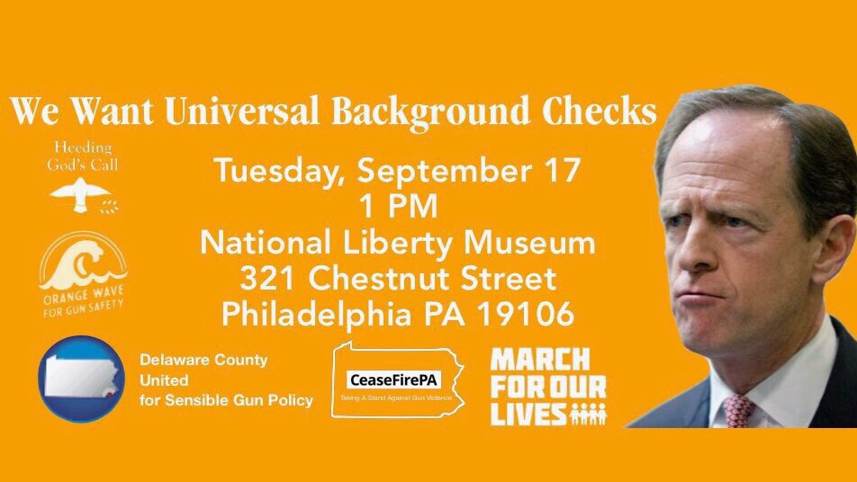 .@SenToomey it's time for a bill that covers EVERY gun sale and transfer. We need Universal Background Checks NOW