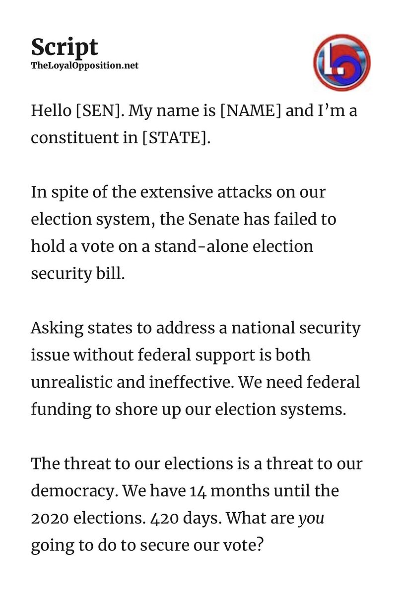 @TheLoyalO @secureourvotes Contact your Senators ⬇️ then help someone new register to vote.
