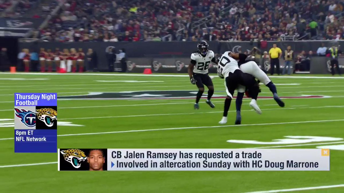 """Are teams interested in Jalen Ramsey?  """"Of course. Ramsey's a top 3 CB in the NFL. But only certain teams make sense. Ones that are contenders, willing to pay him a new deal, and have a culture willing to welcome in a high priced talent mid-way through the season.""""  - @PSchrags https://t.co/76vZKSGBKc"""