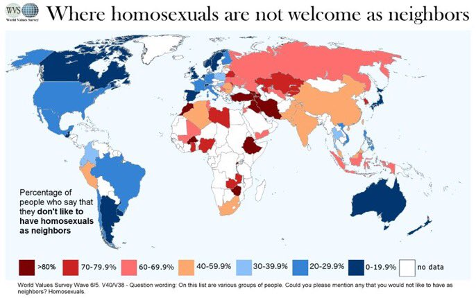 This map shows data on tolerance around the world, towards homosexuality (World Value Survey).  Among the most tolerant countries:  Argentina Australia  Canada Japan Netherlands New Zealand Norway Spain Sweden Switzerland UK Uruguay <br>http://pic.twitter.com/MAIfJNotMO