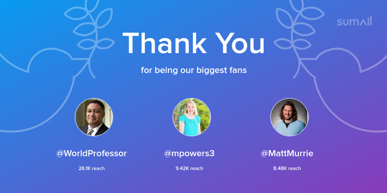 Our biggest fans this week: WorldProfessor, mpowers3, MattMurrie. Thank you! via sumall.com/thankyou?utm_s…