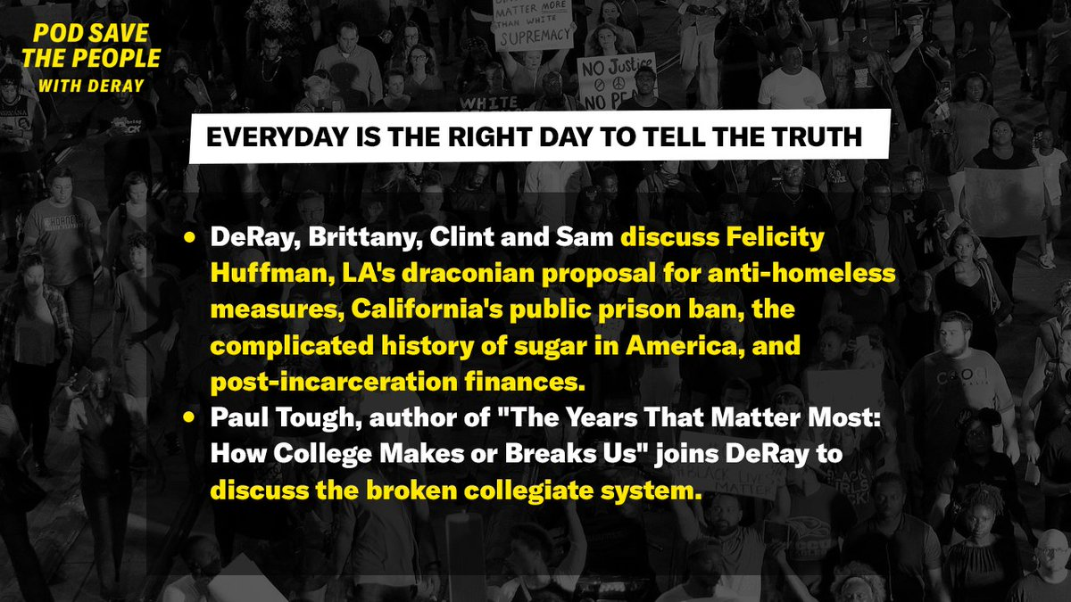"""NEW POD — @deray @MsPackyetti @ClintSmithIII & @samswey discuss Felicity Huffman & LA's draconian proposal for anti-homeless measures. Author @paultough & DeRay discuss the broken collegiate system. """"Everyday Is the Right Day to Tell the Truth"""" out now: http://go.crooked.com/uXv8LY"""