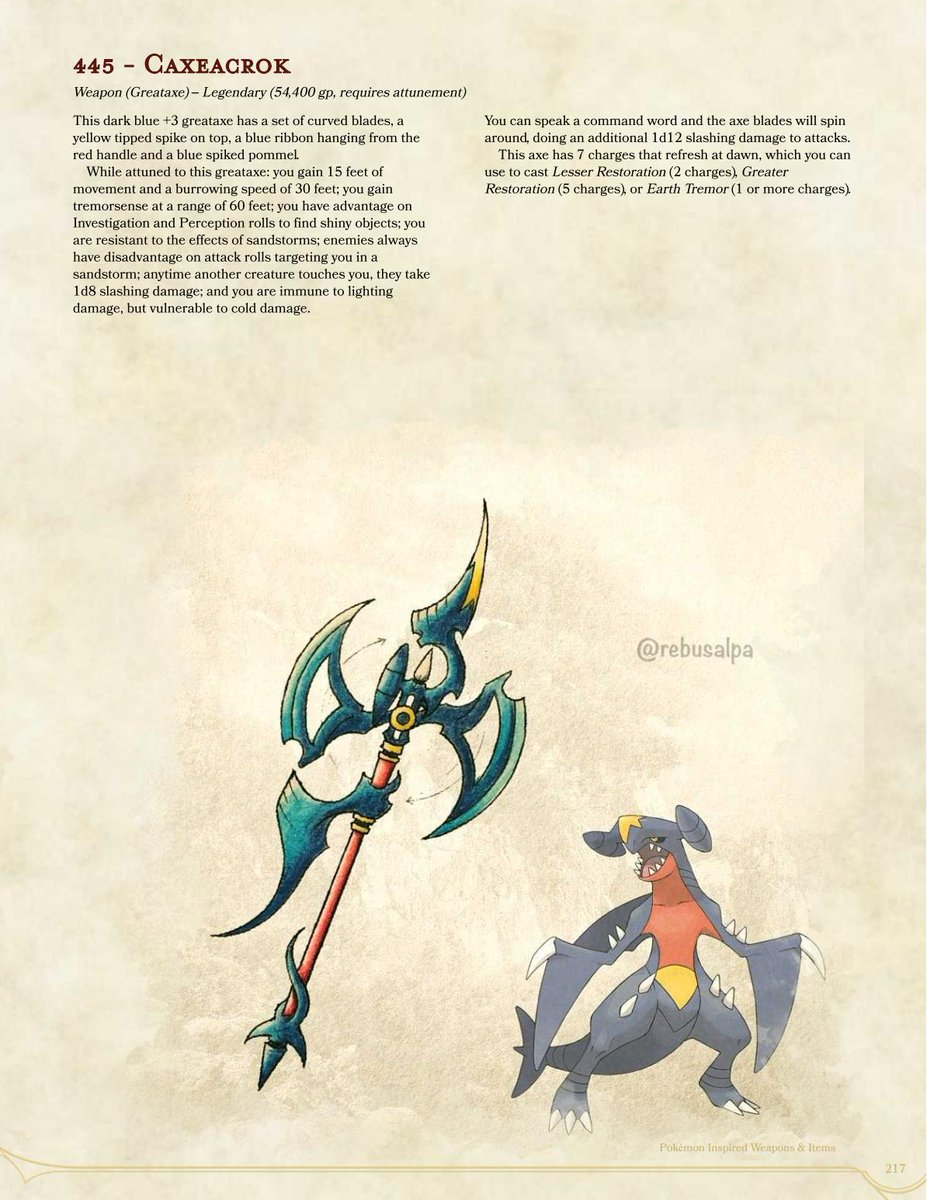 #DnD #Pokemon #MagicItems based on art by @rebusalpa, p217, the #legendary #Garchomp with a very dangerous #spinning #greataxe bringing more #burrowing, #tremorsense, #sandstorm resistance, and rough skin for those that get too close. Get the full PDF at