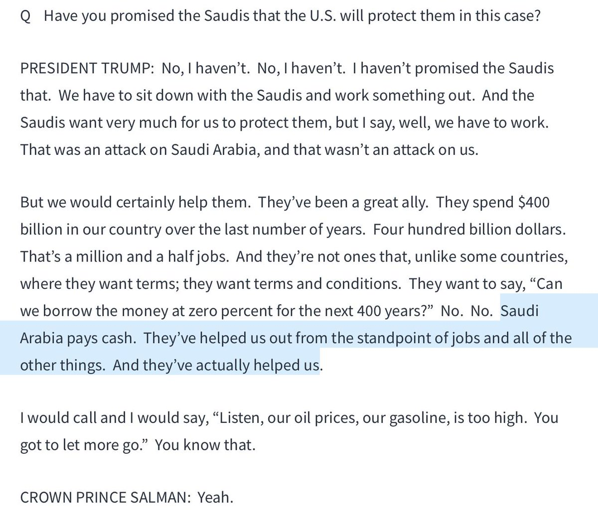 """In discussing why the US stands ready to wage war on behalf of the Kingdom of Saudi Arabia the president literally said they """"pay cash."""""""