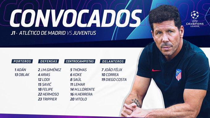 EEr-VU3XsAIPZTO?format=jpg&name=small Simeone convoca a 19 jugadores para recibir a la Juventus - Comunio-Biwenger