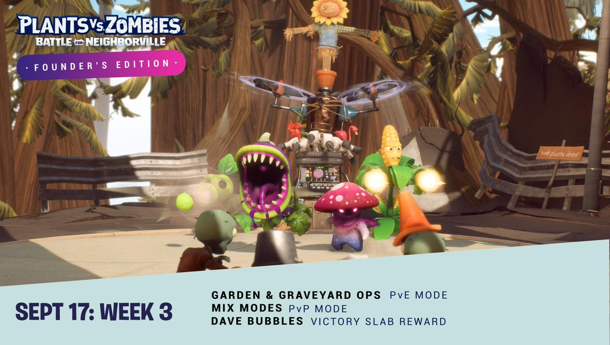 Hordey ho Neighbor! Week 3 is live 🙌 Fight off waves of enemies in Ops Mode that will test your taste for terra-fic bosses.... and you never know what you get in Mix Mode! #PvZBfNPsst: Restart your client to downloadFor more: http://x.ea.com/60216