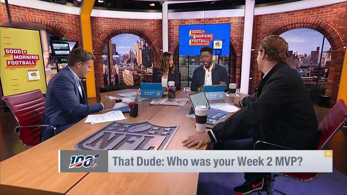 "Who was ""That Dude"" in Week 2?  @nateburleson ➡️ @JasonWitten   @KyleBrandt ➡️ @PatrickMahomes  @heykayadams ➡️ @DavidQberry  @PSchrags ➡️ @AaronDonald97 https://t.co/7ohyllLnry"