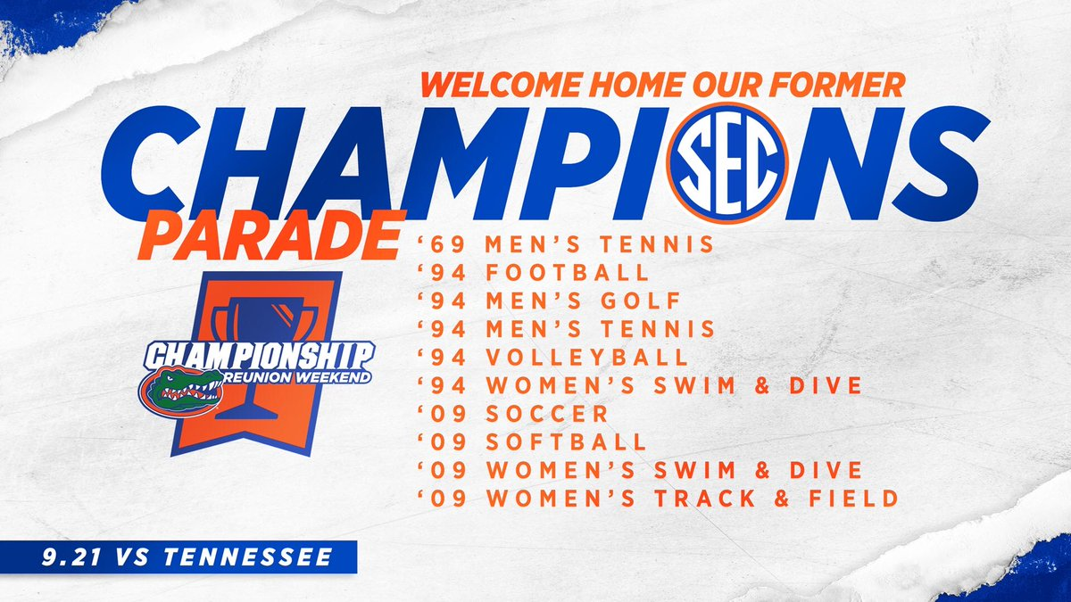 Welcome Back! 🔟 @FloridaGators @SEC Championship teams are back in town this weekend for our to celebrate their various reunions and participate in our inaugural Championship Parade! 🎫: bit.ly/2kJnApa 📰: bit.ly/2kQHzSK #GatorStandard