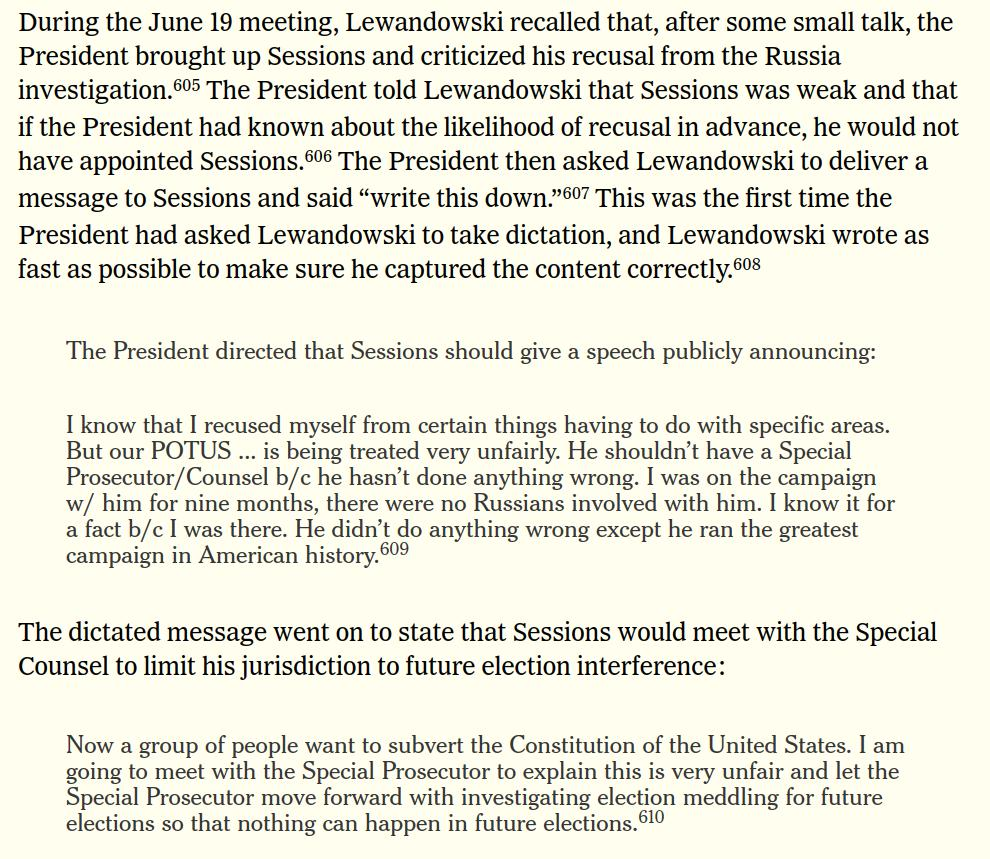 Wow. Under questioning, Lewandowski admitted Trump did direct him to try to get Sessions to dramatically limit the scope of the Mueller probe.  He said the report was accurate on this point.  I'm sure the optics police will get right on this.   Here's the key part of the report: https://t.co/xFq6DTvpRw