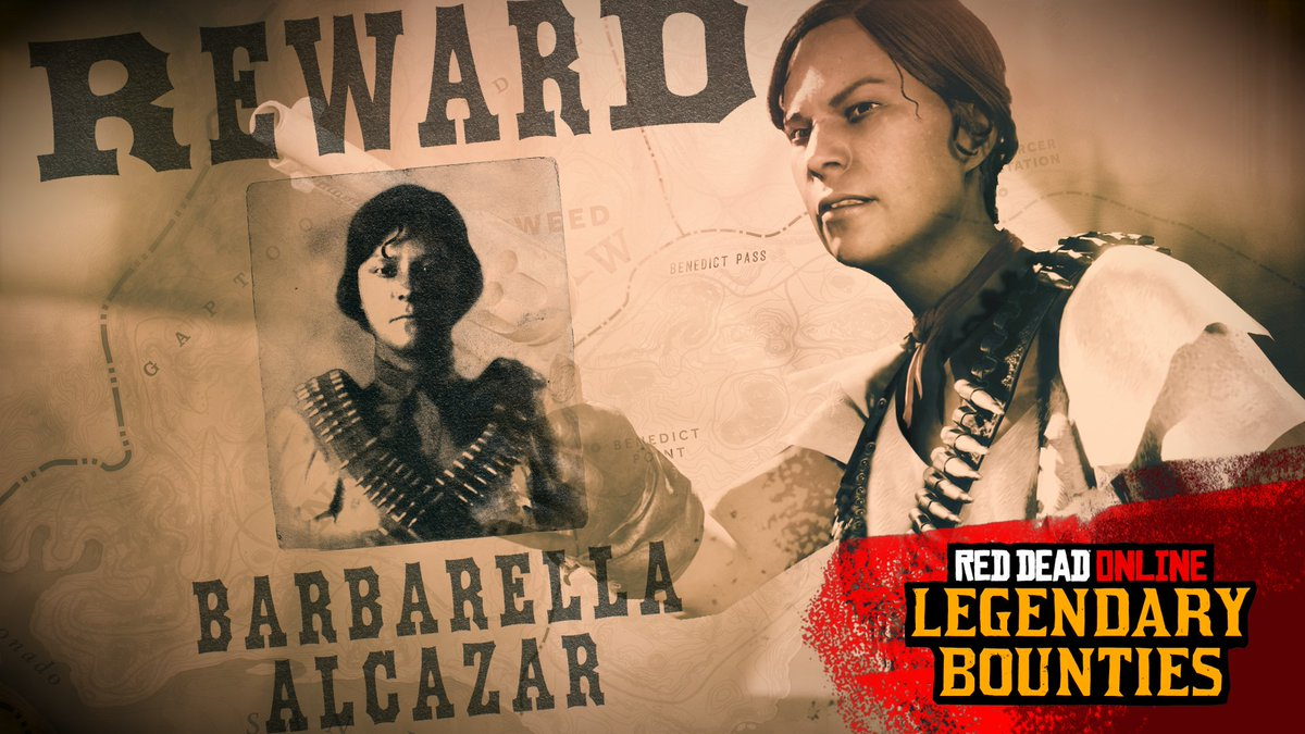 WANTED: Barbarella AlcazarThe first of 10 new weekly Legendary Bounties in Red Dead OnlineThe de facto leader of the bloodthirsty Del Lobos gang must be brought to justice.Access this Legendary Bounty wanted poster at any Bounty Board by Sept 23rd. http://rsg.ms/bbb5859