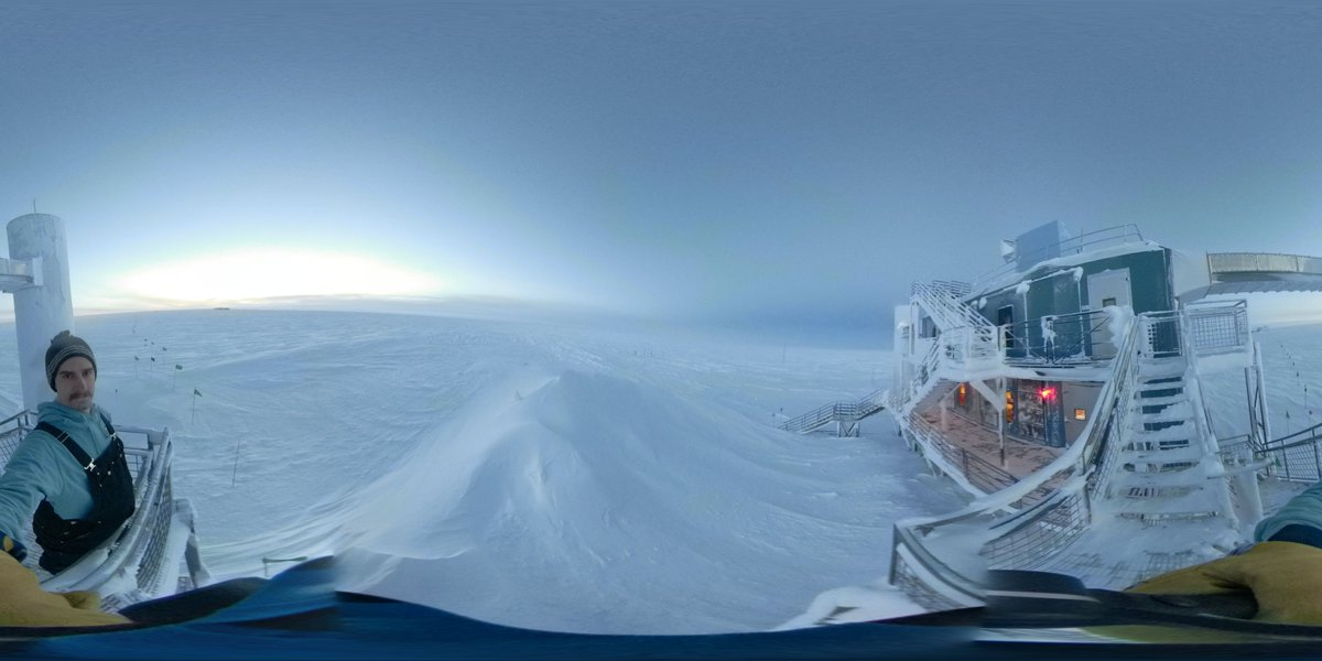 Another one from the front side of the IceCube Lab. It's a little frosty, at -60C with no winds you can only be outside for a minute without a face-mask. <br>http://pic.twitter.com/wYOUPCT9Ew