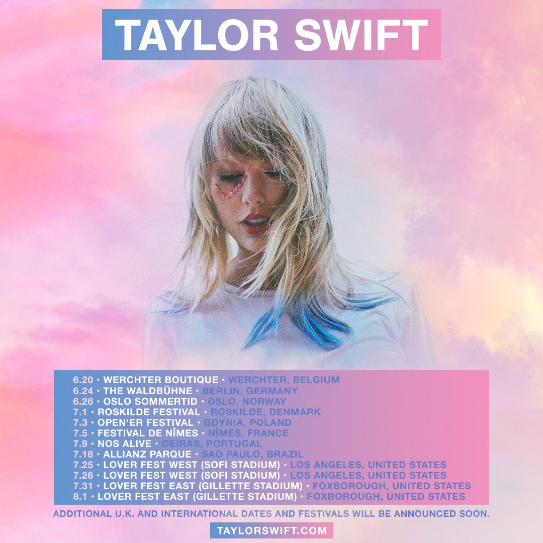 The Lover album is open fields, sunsets, + SUMMER. I want to perform it in a way that feels authentic. I want to go to some places I haven't been and play festivals. Where we didn't have festivals, we made some. Introducing, Lover Fest East + West! http://TaylorSwift.com