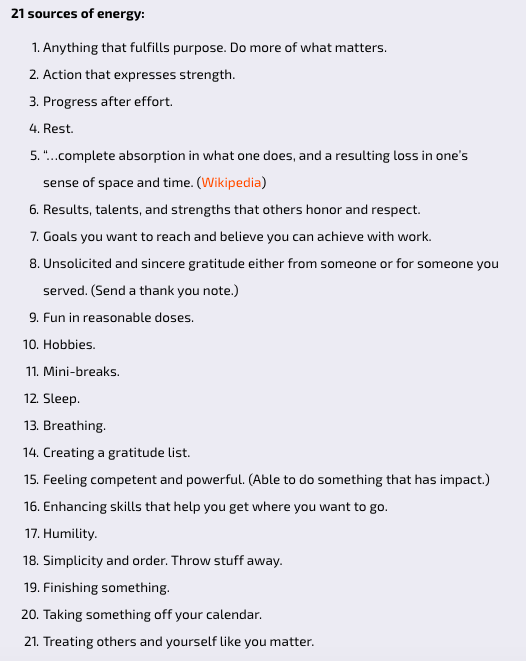 I like this list from @Leadershipfreak on ways we can build our energy. buff.ly/2NbX7Nu