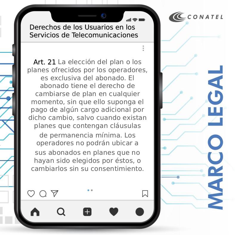 #Conatel ¡Conoce el artículo 21 del Reglamento Para la Protección de los Derechos de los Usuarios en la Prestación de los Servicios de Telecomunicaciones! #DiálogoPorLapaz