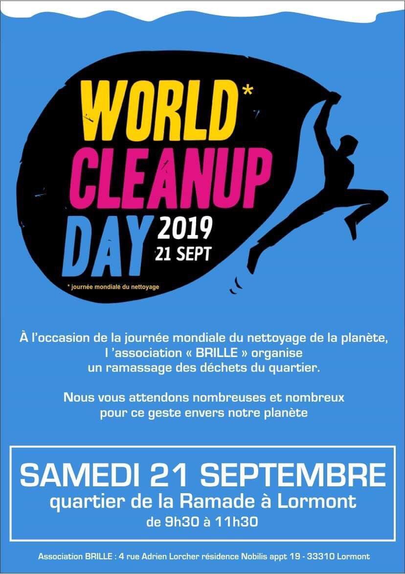 Une belle initiative lancée par l'association Brille dans le cadre du #WorldCleanUpDay2019 !! Opération nettoyage du quartier de la Ramade ce samedi à partir de 9h30 ;) #environnement #WorldCleanUpDay #Lormont #gironde #LaRamade twitter.com/BoumardJ/statu…