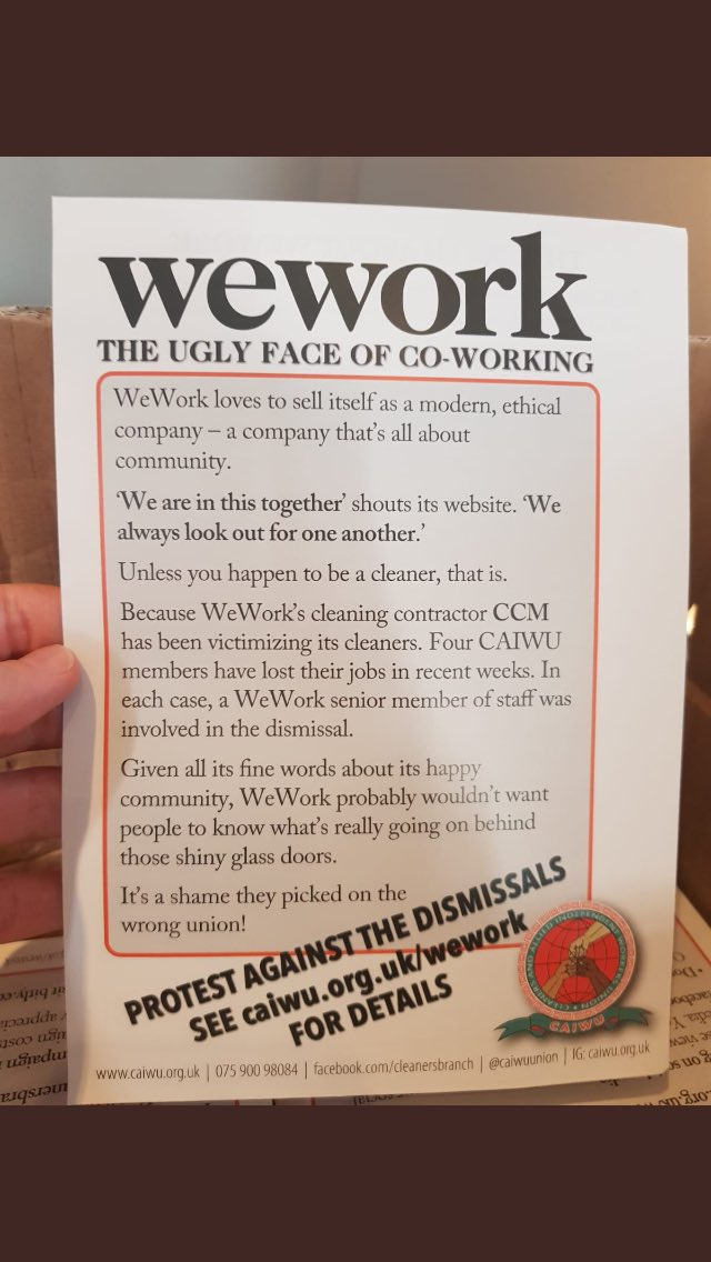 ✊Calling all comrades!⚡️Tomorrow we are protesting the recent dismissals of four of our members from their jobs at @WeWorkUK. We need your support! Come down and show solidarity ✊at 10am tomorrow outside No 1, Poultry, EC2R 8EJ. more here- caiwu.org.uk/wp/wework-ccm/