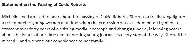 Former President Obama on the death of Cokie Roberts.
