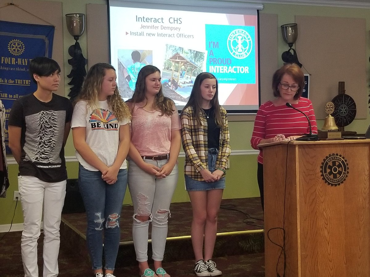 Welcome to the new officers to the @CHSCanes Interact Club. Special thanks to Inverness Rotarian Patricia Thomas for installing them today at the Inverness Rotary Club meeting. #studentsuccess #onehurricane <br>http://pic.twitter.com/yeGQYoSuvG