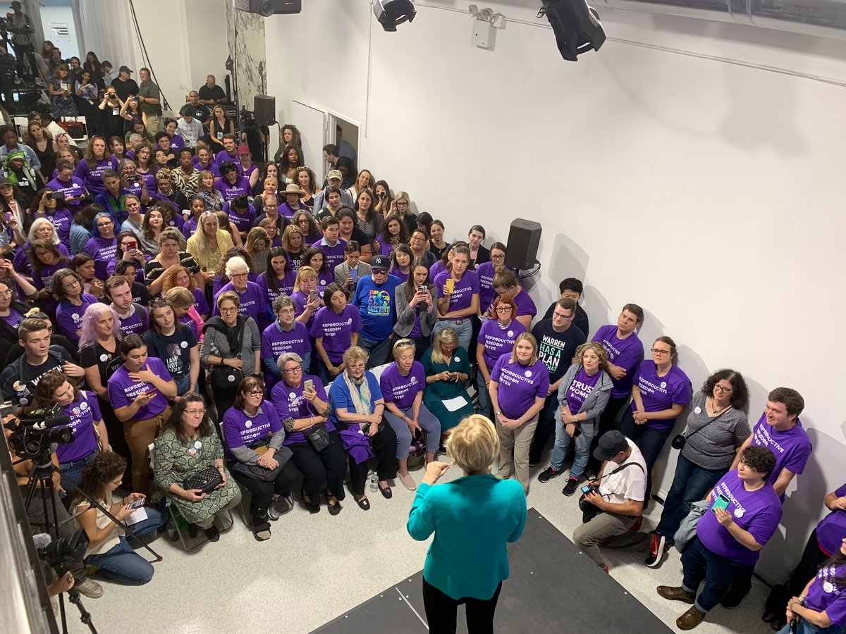 """""""For 47 years, we have been on defense. Well I'm here because I'm tired of being on defense. I'm ready to go on offense.""""  —@ewarren on fighting for reproductive freedom for all #2020Election https://t.co/uvH1EBSLwW"""
