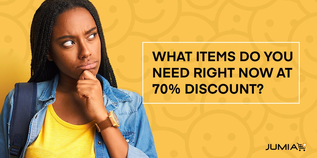 FILL IN THE BLANK: I will love to have ____ item @ 70% discount. RT & Reply GO  #JumiaMall      http:// bit.ly/2kjLiYQ    <br>http://pic.twitter.com/PQ1T4RigAA