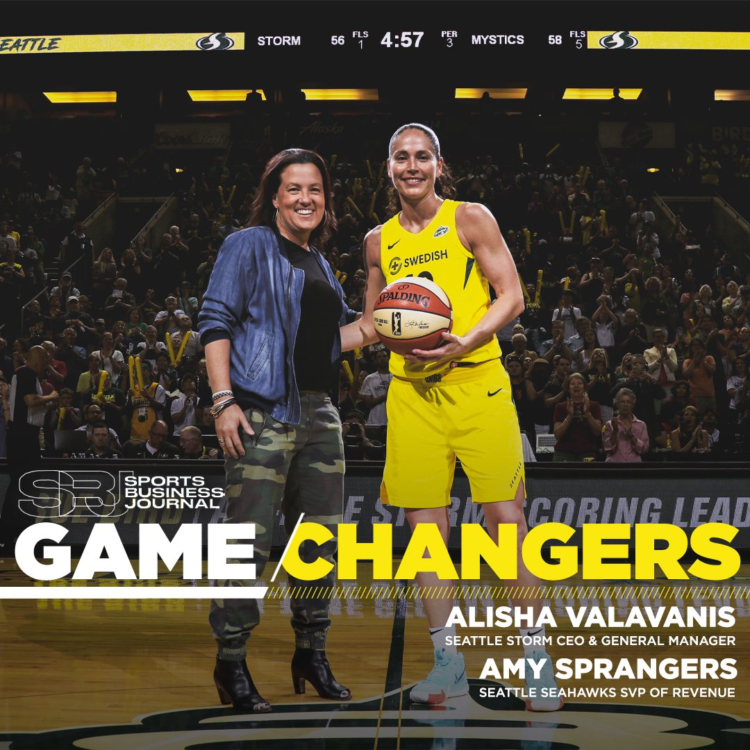 🌊 PNW Making 𝔀𝓪𝓿𝓮𝓼 🌊  Congrats to our CEO & General Manager, @AlishaValavanis and @Seahawks SVP of Revenue, Amy Sprangers, on being named to the @sbjsbd Game Changers Class of 2019 🙌🏆  #WeRepSeattle