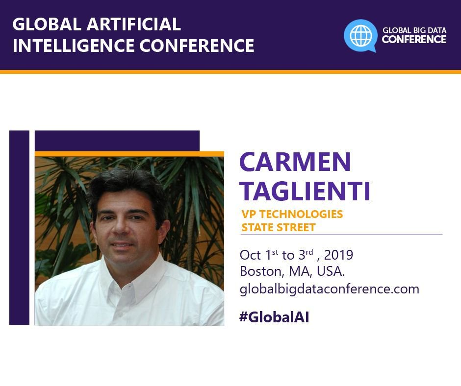 test Twitter Media - We are delighted to have @carmtag as a speaker at The Global #ArtificialIntelligence Conf #Boston Oct 1st - 3rd 2019  Speaker https://t.co/I9AxbRN7Si Register now https://t.co/qQlnocmJpK #GlobalAI #AI #Bigdata @StateStreet  Connect with him on LinkedIn at https://t.co/JhdD3cohwl https://t.co/ZfYeZgTpHd