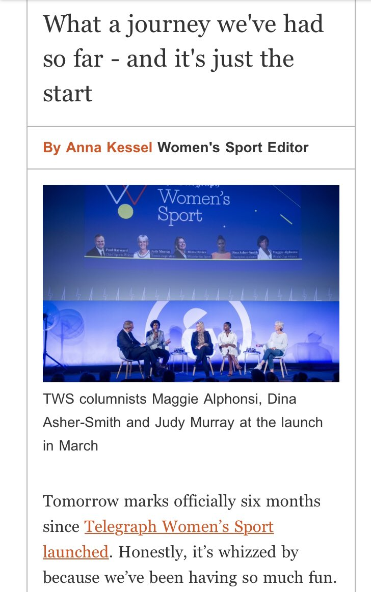 It's our six month anniversary tomorrow on @WomensSport 🎂🎉🎈🌟I wrote about what it's like to be given the opportunity to help change the media landscape, for our TWS newsletter. To receive your free copy every Tuesday, sign up here: http://www.telegraph.co.uk/ak-women-sport