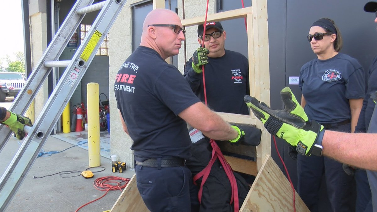Members of Wayne Township Fire Department and Indianapolis Fire Department on Tuesday refined their skills to rescue people trapped in machinery and other items. News 8s @aleahordges reports. bit.ly/2lWu7Nt