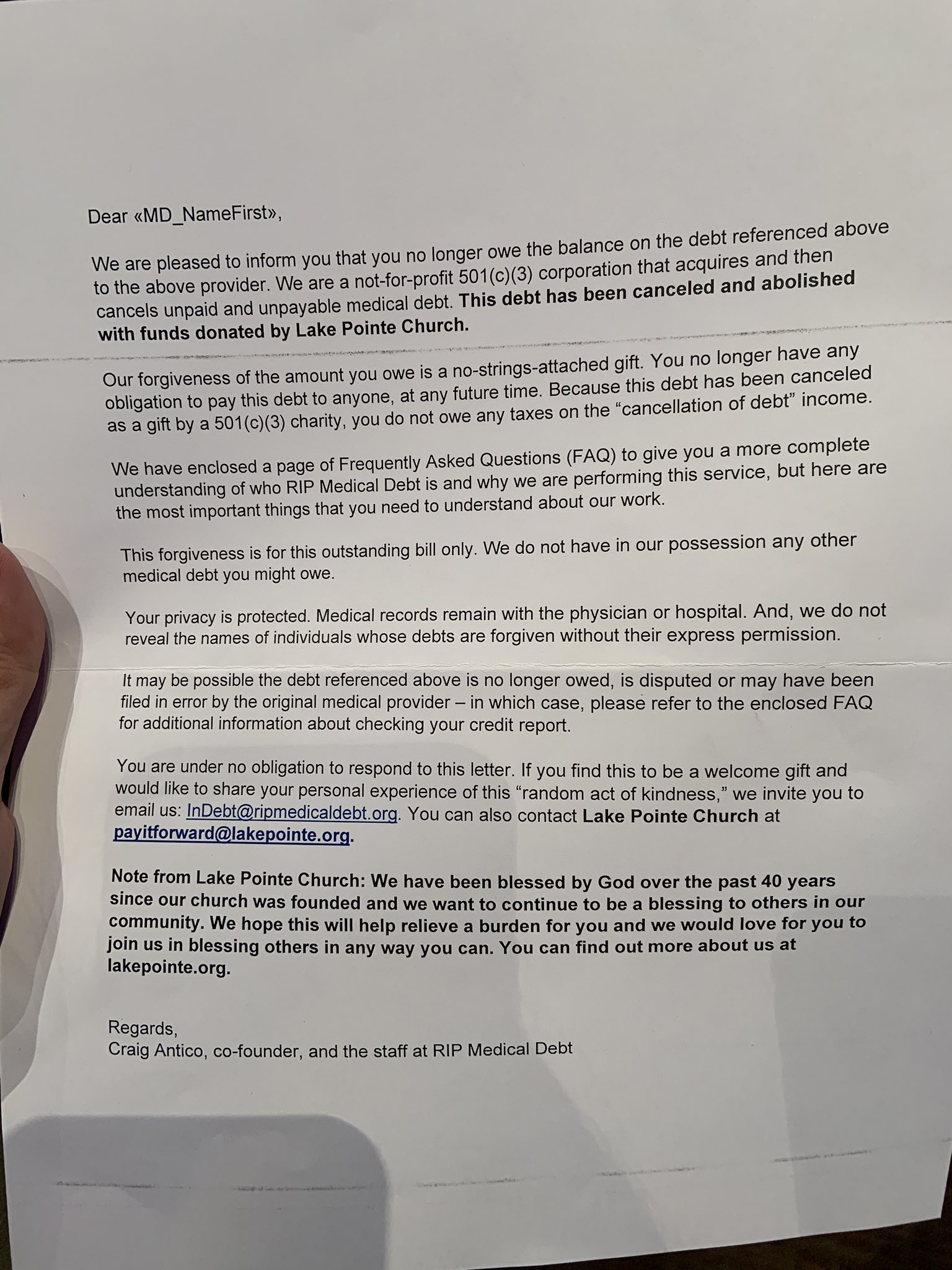 Medical Debt Forgiveness Letter from pbs.twimg.com