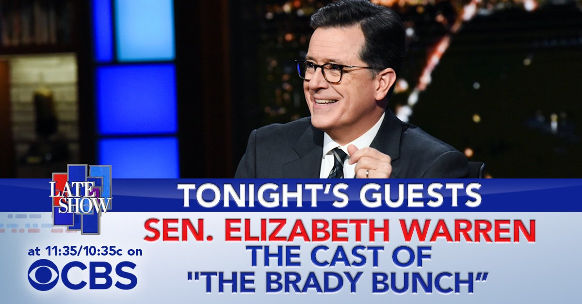"""TONIGHT: Senator from Massachusetts and presidential candidate, @ewarren! Then the cast of """"The Brady Bunch"""" is here to talk about their new show, """"A Very Brady Renovation"""" on @hgtv! #LSSC https://t.co/lFE00ucgPh"""