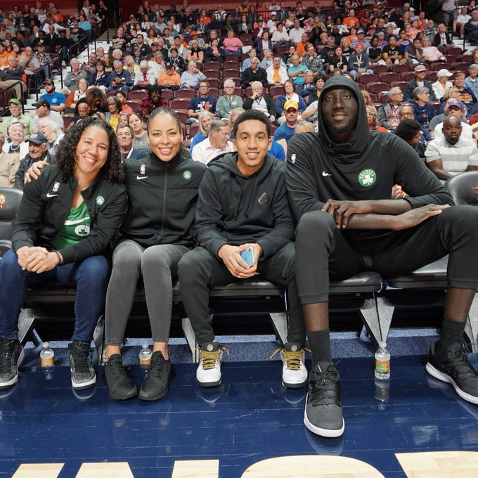 💯 @celtics crew is in Connecticut for some #WNBA Playoff action ☘️  @karalawson20, Allison Feaster, guard @WatersTremont, and center @tack